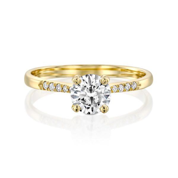 טבעת אירוסין אנדריאה זהב צהוב פרונט