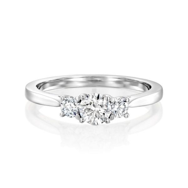 טבעת אירוסין בר משובצת שלושה יהלומים - זהב לבן - פרונט