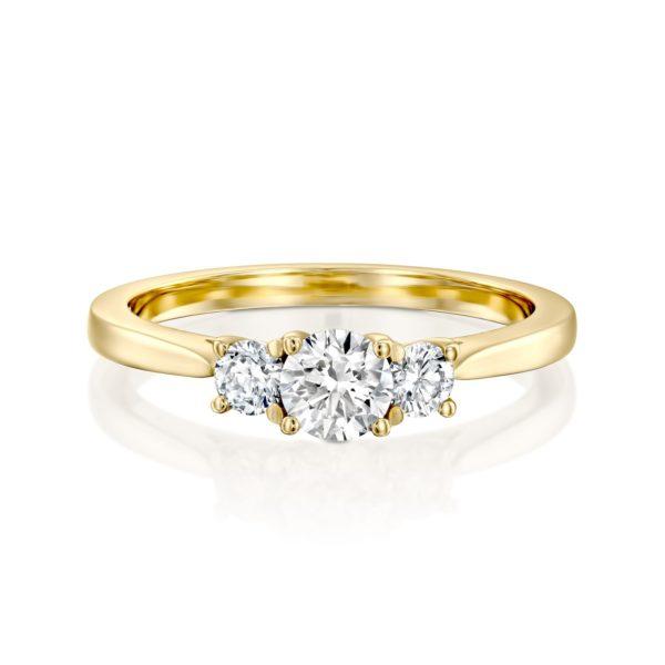 טבעת אירוסין בר משובצת שלושה יהלומים - פרונט