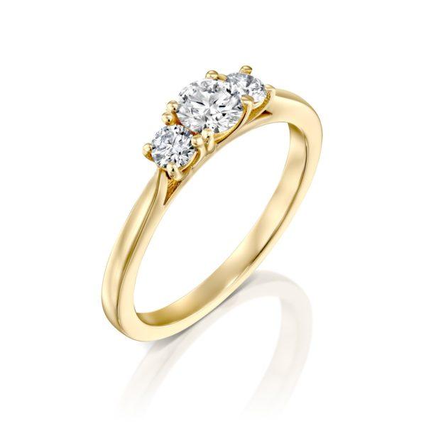 טבעת אירוסין בר משובצת שלושה יהלומים