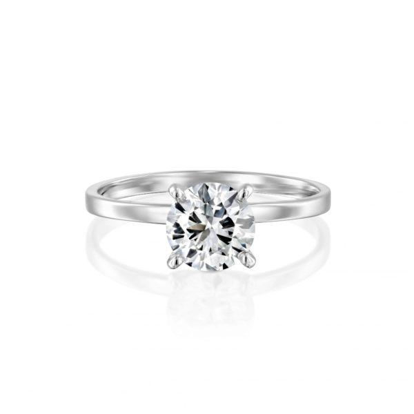 טבעת אירוסין אנה סוליטר זהב לבן פרונט