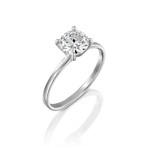 טבעת אירוסין אנה סוליטר זהב לבן