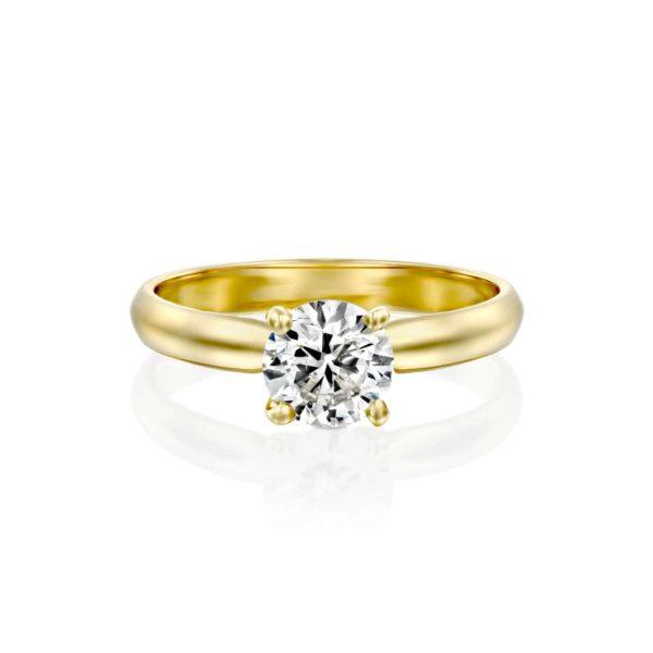 טבעת אירוסין ברנדה זהב צהוב פרונט