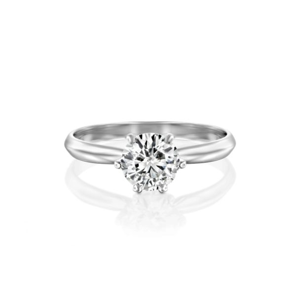 טבעת אירוסין קלייר זהב לבן - פרונט