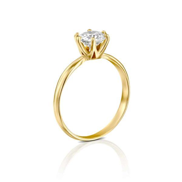 טבעת אירוסין קלייר זהב צהוב עומדת