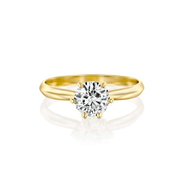 טבעת אירוסין קלייר זהב צהוב - פרונט