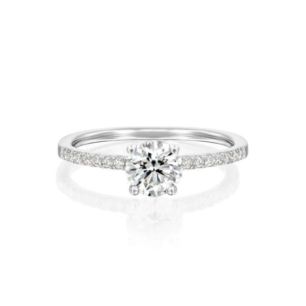 טבעת אירוסין קרול זהב לבן פרונט