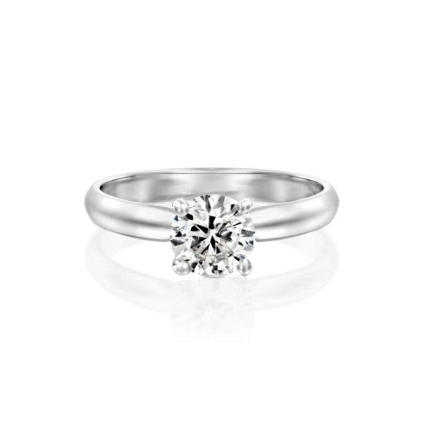 טבעת יהלומים ברנדה סוליטר זהב לבן פרונט