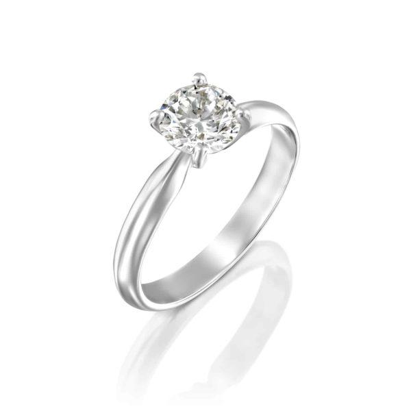 טבעת יהלומים ברנדה סוליטר זהב לבן