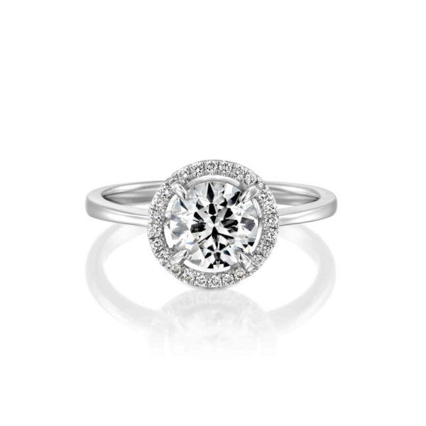 טבעת אירוסין ליסה זהב לבן - פרונט