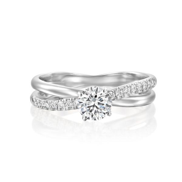 טבעת אירוסין מוניק טוויסט זהב לבן - פרונט