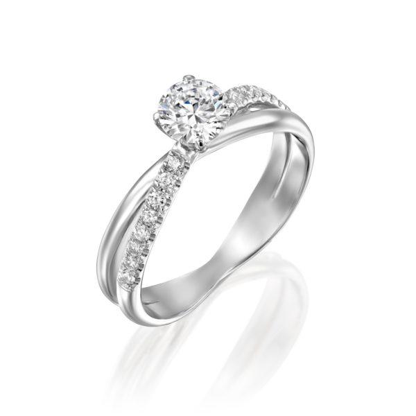 טבעת אירוסין מוניק טוויסט זהב לבן