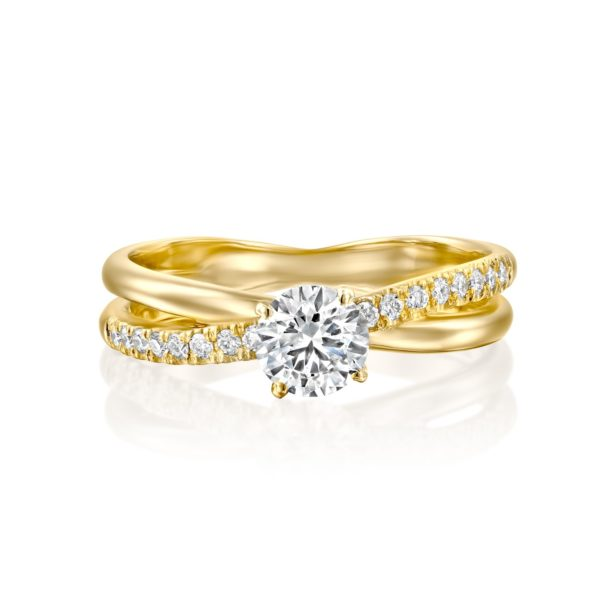 טבעת אירוסין מוניק טוויסט זהב צהוב - פרונט
