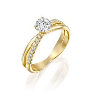טבעת אירוסין מוניק טוויסט זהב צהוב