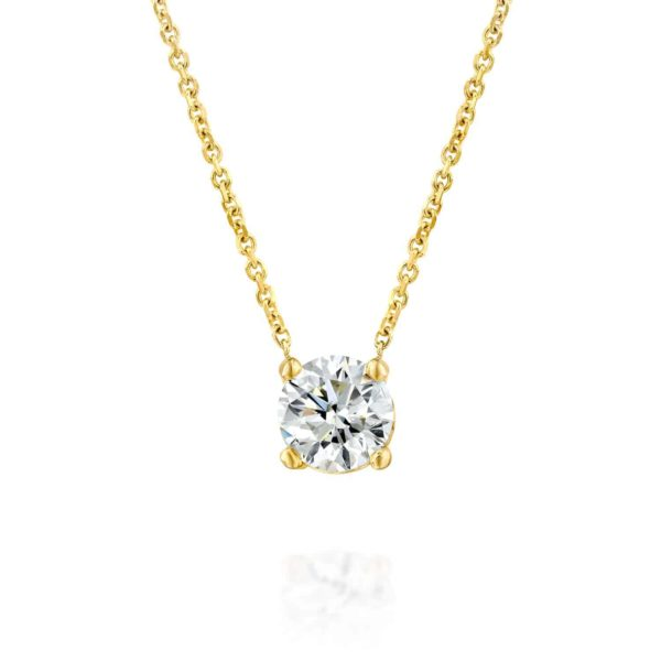 שרשרת יהלום סוליטר קלאסית זהב משובצת יהלום 4 שיניים
