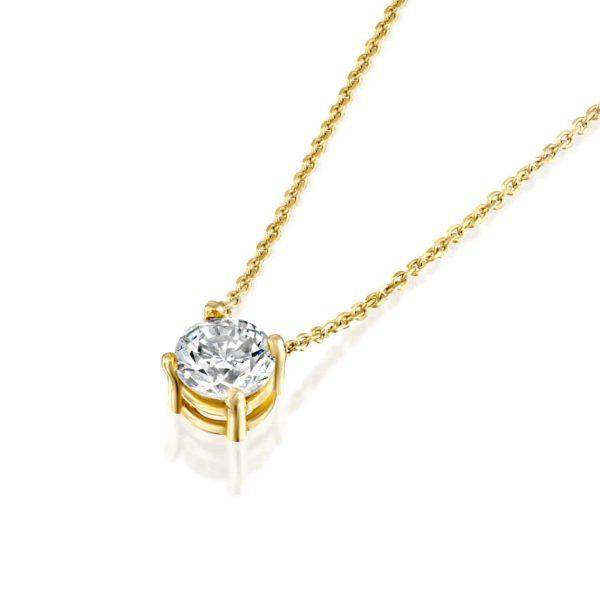 שרשרת יהלום סוליטר קלאסית - זהב משובצת יהלום 4 שיניים