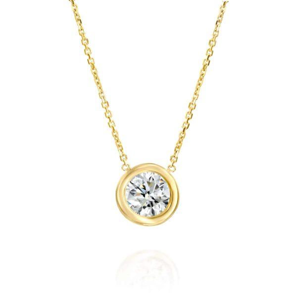 שרשרת זהב עם יהלום קלאסית משובצת 0.75 קראט