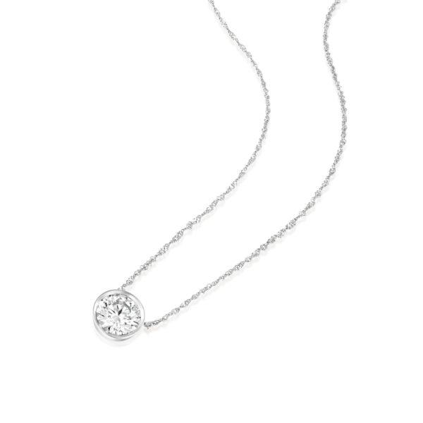 שרשרת יהלום סוליטר משובצת זהב לבן