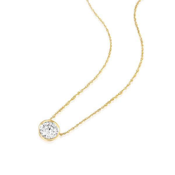 שרשרת יהלום סוליטר משובצת זהב