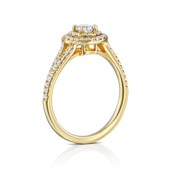 טבעת אירוסין היילו זהב צהוב 0.75 קראט - עומדת