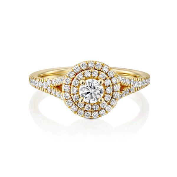 טבעת אירוסין היילו זהב צהוב 0.75 קראט - פרונט