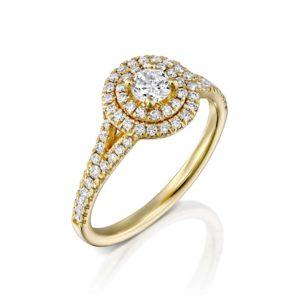 טבעת אירוסין היילו זהב צהוב 0.75 קראט