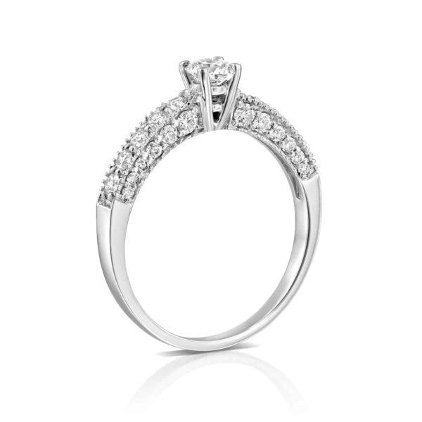 טבעת אירוסין וינטאג' זהב לבן 0.90 קראט - עומדת
