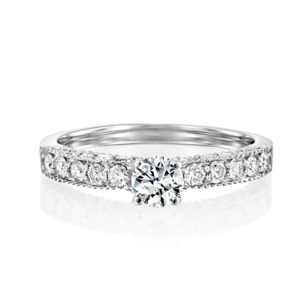 טבעת אירוסין וינטאג' זהב לבן 0.90 קראט - פרונט
