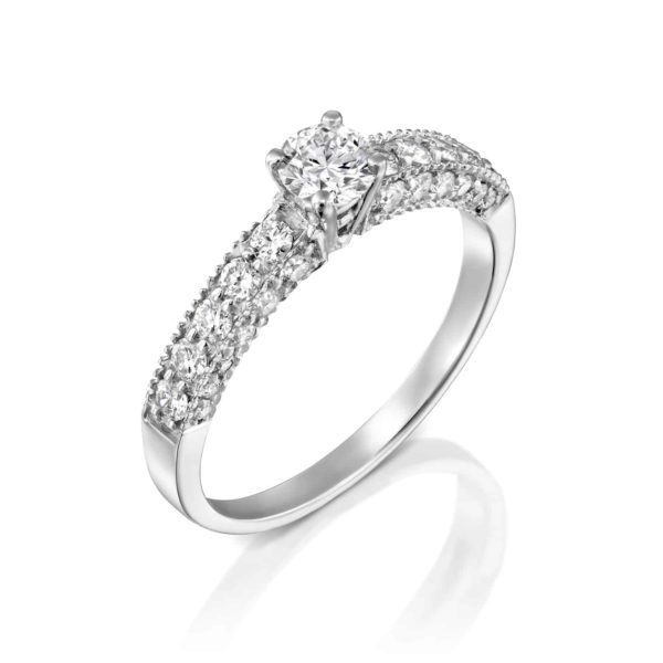 טבעת אירוסין וינטאג' זהב לבן 0.90 קראט