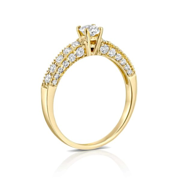 טבעת אירוסין וינטאג' זהב צהוב 0.90 קראט - עומדת