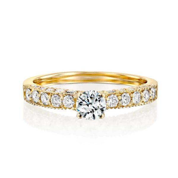 טבעת אירוסין וינטאג' זהב צהוב 0.90 קראט - פרונט