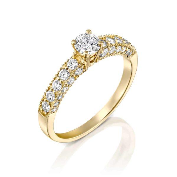 טבעת אירוסין וינטאג' זהב צהוב 0.90 קראט