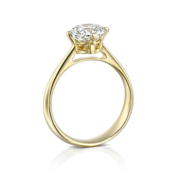 טבעת אירוסין מרי משובצת יהלום - זהב - עומדת