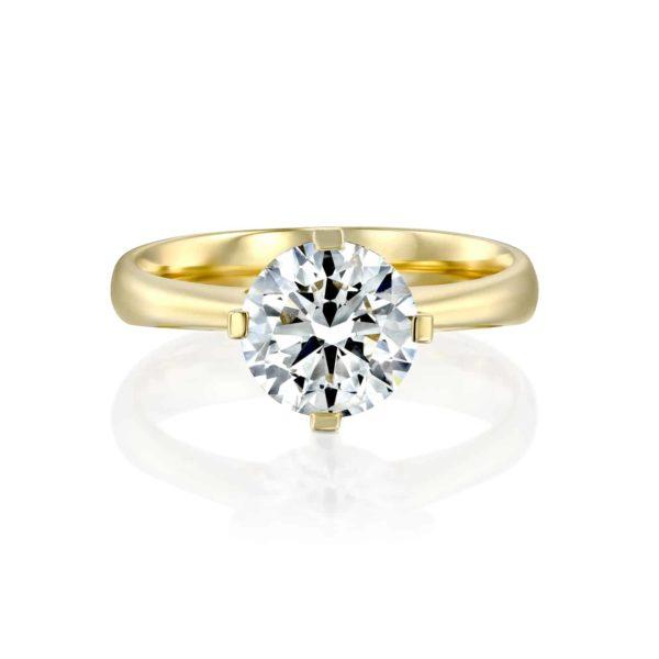 טבעת אירוסין מרי משובצת יהלום - זהב - פרונט