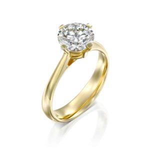 טבעת אירוסין מרי משובצת יהלום - זהב