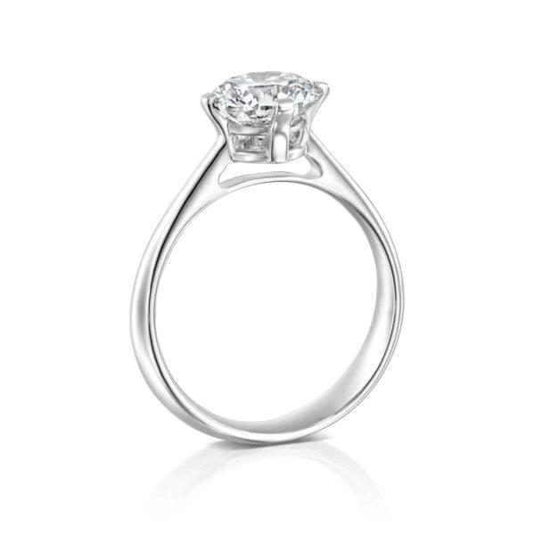 טבעת אירוסין סוליטר בשיבוץ יהלום - זהב לבן