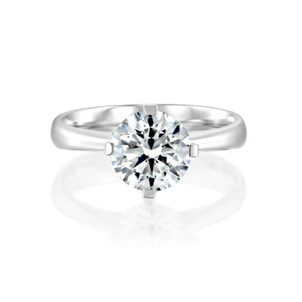 טבעת אירוסין סוליטר בשיבוץ יהלום - פרונט