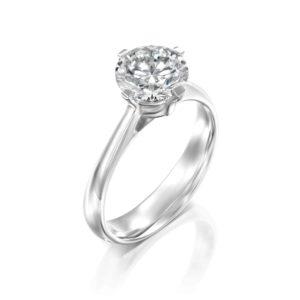 טבעת אירוסין סוליטר בשיבוץ יהלום