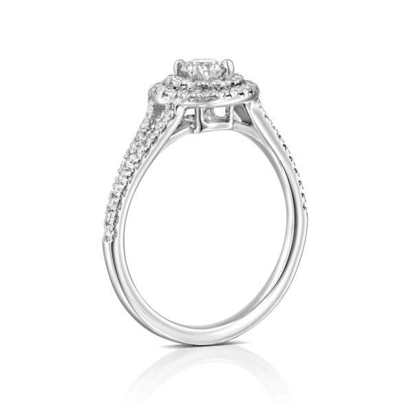 טבעת יהלומים היילו זהב לבן 0.75 קראט - עודמת