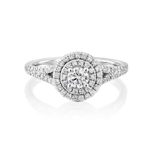 טבעת יהלומים היילו זהב לבן 0.75 קראט - פרונט