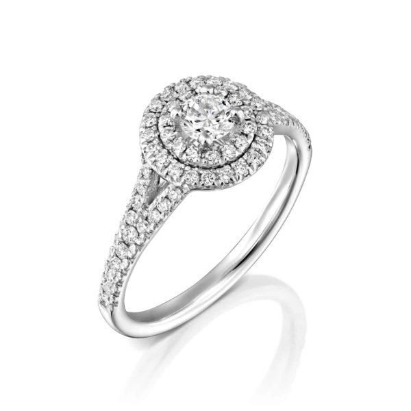 טבעת יהלומים היילו זהב לבן 0.75 קראט