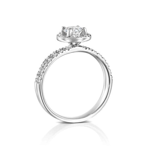 טבעת יהלומים ונסה דאבל היילו - זהב לבן - עומדת