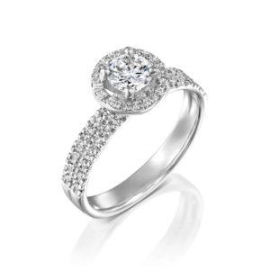 טבעת יהלומים ונסה דאבל היילו - זהב לבן