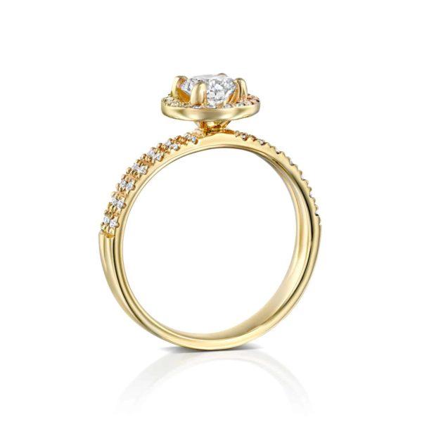 טבעת יהלומים ונסה דאבל היילו - זהב - עומדת