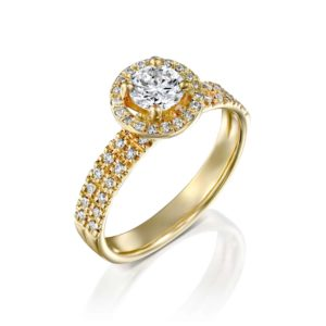 טבעת יטבעת יהלומים ונסה דאבל היילו - זהבהלומים ונסה דאבל היילו - זהב