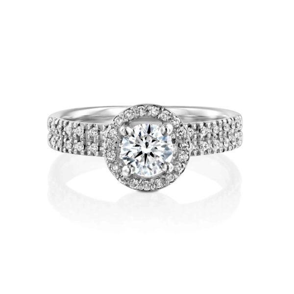 טבעת יהלומים ונסה דאבל היילו - פרונט - זהב לבן
