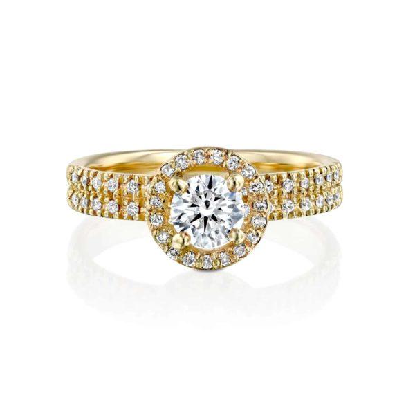 טבעת יהלומים ונסה דאבל היילו - פרונט - זהב