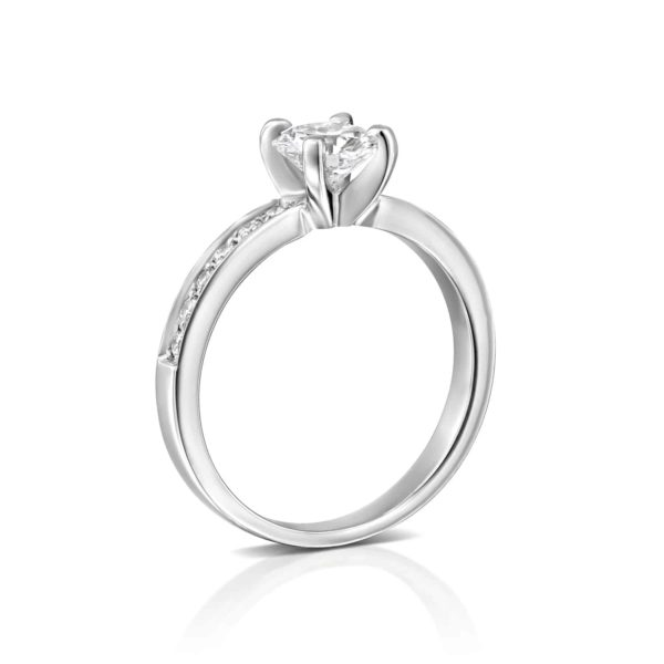 טבעת יהלומים לנה זהב לבן - עומדת