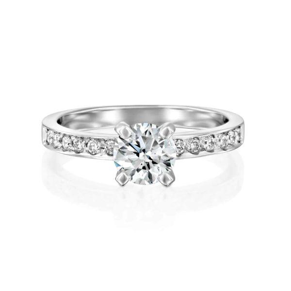 טבעת יהלומים לנה זהב לבן - פרונטטבעת יהלומים לנה זהב לבן - פרונט