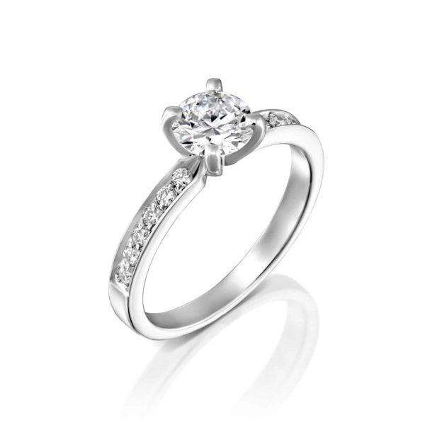 טבעת יהלומים לנה זהב לבן